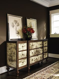 :) painted toile chest
