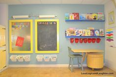 An Art Wall in A Playroom. Collapsable fold down table, organized art supplies with Ikea items, magnetic chalkboards, ledge shelves for coloring books