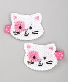 http://www.zulily.com/invite/vhanson979 Take a look at this White Cat Crochet Hair Clip Set by ZiRiMi on #zulily today!