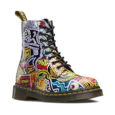 First recognized for his vibrant illustrations in the 1980's, cult artist Mark Wigan is teaming up with Dr. Martens to fashionably exhibit his profound works of art from head to sole. Influenced by New York nightlife, the Pascal 8-eye Kaboom Boot displays one of Wigan's original paintings from a Soho nightclub, printed on a soft, full-grain leather upper. <b>Available only online at Journeys.com and SHIbyJourneys.com!</b> <br><br><u>Features include</u>:<br> > Mark Wigan illustration…