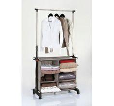 Portant à vêtements réglable - 1 barre extensible avec casiers de rangement chez www.ac-deco.com pour une meilleure organisation, rangement et gain d'espace