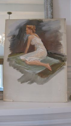 Vintage painting water color unframed woman 1940's by jemsbyjennym
