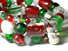 Beautiful Handmade Snowmen Bracelets by Stephanie and Brian on Etsy