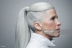 Stock Photo : Profile of mature woman with grey hair, portrait.