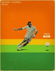 World Cup 2014 - Each Country's Fan Favourite by Jon Rogers, via Behance #soccer #poster #drogba