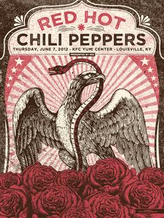 gig poster - red hot chili peppers by justin helton