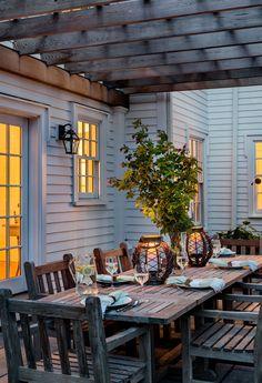 Outdoor Dining - Stone Patio - Wooden Pergola - Crisp Architects