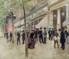 The Boulevard Montmartre and the Theatre des Varietes Jean-Georges Béraud - Date unknown