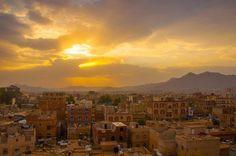 sunrise over golden city
