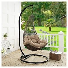Modway Furniture Abate Outdoor Patio Swing Chair With Stand in Black Mocha Wicker Porch Swing, Outdoor Patio Swing, Hanging Swing Chair, Hammock Swing Chair, Hammock Stand, Swinging Chair, Porch Swings, Chair Bed, Chair Cushions
