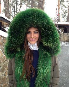 Awesome green fur hood