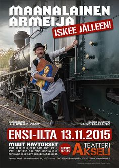 An amateur theatre poster for a Finnish version of J. LLoyd's & D. Croft's 'Allo 'Allo (Maanalainen armeija iskee jälleen). The play was performed in Teatteri Akseli (Turku, Finland) in Autumn/Winter 2015. The poster is designed and photographed by Ikaros Ainasoja. #ikarosAinasoja #theatre #poster #amateurTheatre #graphicDesign #teatteriAkseli