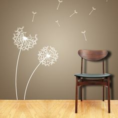 Love it.  Wish this was less expensive.  Wall Decals DANDELION Wall Sticker and FREE Birds Choose Any Color. $45.00, via Etsy.