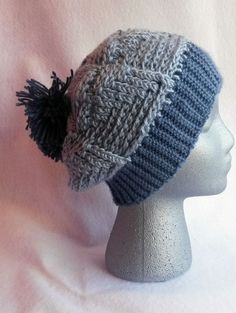 Hat Slouchy Hat Pom Pom Hat Crochet Hat Blue by TheCrochetAnything