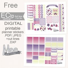 FREE Mee scrapbook kits free download: Silhouette tutorial-How to use .DXF file with cut lines and free planner stickers