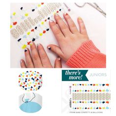 Here are some super cute Jamberry nail wraps, the name is Confetti & Balloons. Jamberry wraps are high quality, heat-activated vinyl nail wraps. NO MESS and so easy to apply!!!! Jamberry Juniors fit even the smallest of hands and come with TWO designs!! Plus they are nontoxic, vegan, GMO free, gluten free, not tested on animals, and made in the USA!!! A product you can feel good about! Order today from: www.meganksmith.jamberrynails.net