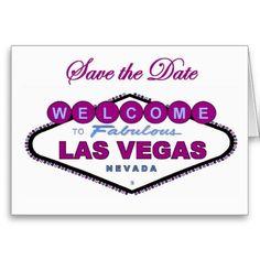 Las Vegas Save the Date New Plum Color Announcemen Card