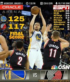 Final: Dubs beat the Portland Trail Blazers 125-117! Steph and KD scored 35 and 30 respectively. So far any time the Dubs have 2 of their players Score 30 or more points they win! The Trail Blazers' C.J. McCollum also had a team-leading 35 points matching Steph's scoring performance. The Warriors go to a league-leading 31-5 giving them a 2-game lead over the persistent San Antonio Spurs. Next game's at Oracle against the Memphis Grizzlies this Friday Jan 6th at 7:30PM Pacific Time. It's…