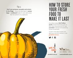 Tips for reducing food waste - potatoes, pumpkins and onions Reduce Waste, Food Waste, Fruits And Vegetables, Onions, Pumpkins, Food To Make, Infographic, Potatoes, Gardens