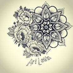 tattoo sketch by Art Laskin,mandala,flower