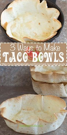 How to make taco bowls at home. 3 Easy way to make them at home in the oven with very little effort. Vegetarian, Vegan, Kid-friendly 3 quick and healthier ways to make taco bowls at home Taco Salad Shells, Taco Salad Bowls, Taco Salad Recipes, Taco Salads, Taco Shell Bowls, Baked Taco Shells, Tacos Au Four, Mexican Dishes, Mexican Food Recipes