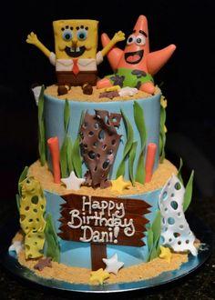 gâteau anniversaire à 2 étages Bob l'éponge et Patrick