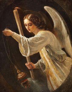 Нефф Т.А. Портрет Великой княжны Марии Николаевны в виде ангела со свечой и кадилом.
