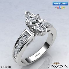 Splendid Marquise Diamond Engagement Ring GIA H Color VS2 14k White Gold 1.75 ct.