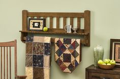 Mission style quilt wall hanging shelf in solid, quarter sawn, white oak.