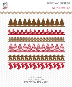 Christmas Borders svg Tree Socks gingerbread Mistle toe DXF SVG PNG Cricut Design, Silhouette studio, Sure Cuts, Makes the Cut by SvgCutArt on Etsy