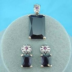 Purple Glass Pendant Earrings Set Jewelry February Birthstone Christmas Parties #DavenportDesigns