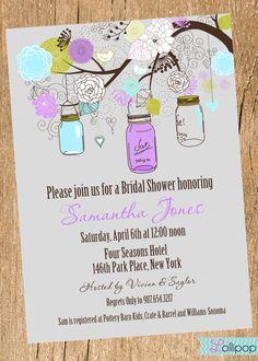 Vintage Mason Jar Bridal Shower Printable Party Invitation, Personalized Blue, Purple and Green Bridal Shower Invite via Etsy