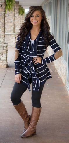 Image of Navy Striped Elbow Patch Cardigan