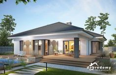 Projekt domu parterowego Miriam III o pow. Modern House Floor Plans, Modern Bungalow House, Bungalow House Plans, Modern Bungalow Exterior, House Plans Mansion, Dream House Plans, One Storey House, House Construction Plan, Beautiful House Plans