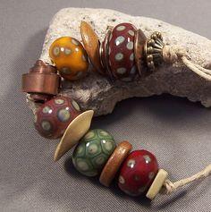 Handmade Lampwork Beads by Mona - Organic Bliss - Antique Golden Brass Copper Earthy Lampwork Beads Boho 2013 Winter
