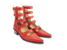 Fluevog Shoes | Shop | Complex (Red) | Strappy ankle boot