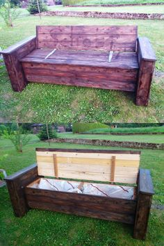 Pallet Beefy Bench with Storage in the Seat - 20 Recycled Pallet Ideas - DIY Furniture Projects | 101 Pallets