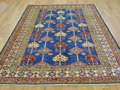 "Buy 5'6""x7'8"" Navy Blue Super Kazak Tribal Design Hand Knotted Pure Wool Rug  #rug #rugstore #rugsale #arearug #rugcleaning #rugwash #rugshopping #rugrepair #carpetcleaning"