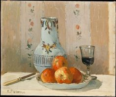 Camille Pissarro (French, 1830–1903). Still Life with Apples and Pitcher, 1872. The Metropolitan Museum of Art, New York. Purchase, Mr. and Mrs. Richard J. Bernhard Gift, by exchange, 1983 (1983.166) | Unlike Monet, Renoir, Cézanne, and other artists in his circle, Pissarro painted few still lifes, most late in his career. This work of 1872 is, therefore, exceptional for its subject, as well as for its clearly expressed forms and subtle manipulation of light.