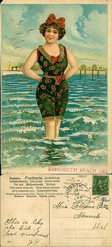 1908 postcard from Rehoboth Beach, Delaware.  From the George and Irene Caley Postcard collection donated to the Delaware Public Archives.  www.archives.delaware.gov