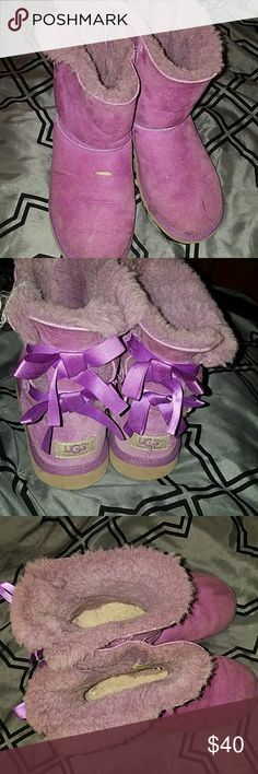 Uggz- Purple Baily Bows Baily bows Ugg boots  Size 5 Previously worn as seen in pic UGG Shoes Rain & Snow Boots