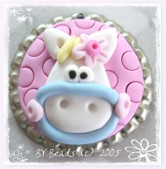 *POLYMER CLAY ~ Cute Pony Polymer Clay Bottle Cap Bead, Scrapbooking, Bow Center, Pendant, Cupcake topper, Magnet.