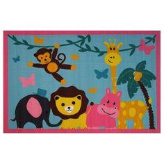 Fun Rugs Fun Time Jungle Party Animal Rug - 3'3'' x 4'10'', Multicolor