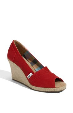 Also love my TOMS red wedges. Cheap Toms Shoes, Toms Shoes Outlet, Red Toms, Blue Toms, Red Wedges, Toms Classic, Discount Toms, Michael Kors Wallet, Womens Toms