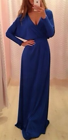 Blue Long Batwing Sleeve Cross Wrap V Neck Tie Waist Maxi Dress