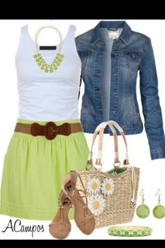 lime green and white dress, jean jacket, brown sandals and bag with lime green jewelry