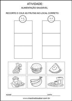 Projeto alimentação saudável educação infantil - Recorte e cole