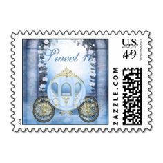 Blue Princess Carriage Enchanted Sweet 16 Stamp. Wanna make each letter a special delivery? Try to customize this great stamp template and put a personal touch on the envelope. Just click the image to get started!