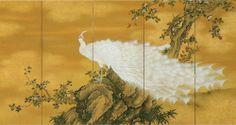望月玉渓の《白〇孔雀》