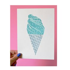 Ice Cream Lino Print // Lino Cut // Printmaking
